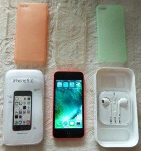 IPhone 5C pink 16 Gb + 3 чехла