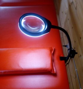 Лампа-лупа настольная с лед-подсветкой, струбцина