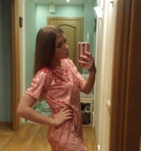 Платье бархатное новое розовое
