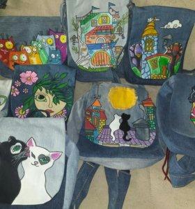 Джинсовые сумочки и рюкзаки ручной работы
