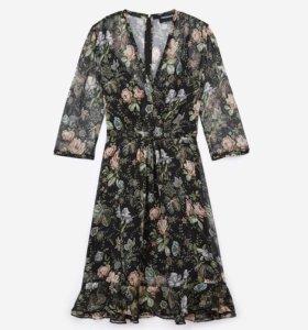 Новое платье шифоновое цветочное на XS