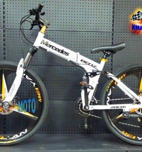 """Велосипед Mercedes 26"""" белый/жёлтый/чёрный 3 луча"""