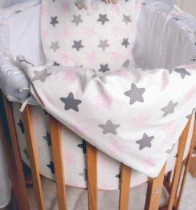 Нежный комплект для круглой кроватки