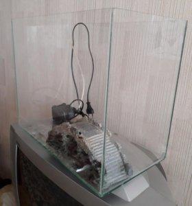 Аквариум,фильтр д/ аквариума, мостик в аквариум