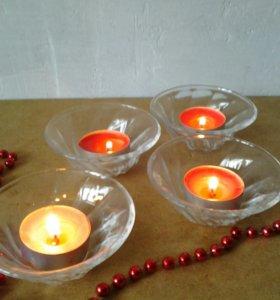 Подсвечники 15шт. стеклянные для свечи таблетки
