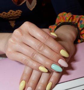 Наращивание ногтей гелем и покрытие шеллак