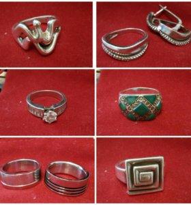 Кольца и серьги,серебро 925 проба