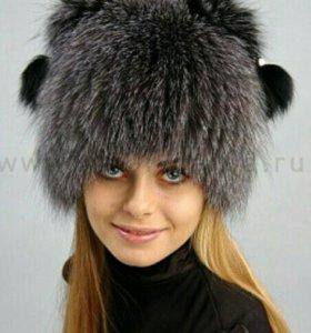"Шапка из меха чернобурки, модель ""Кошка"""