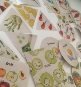 40 наклеек стикеров с фруктами и овощами