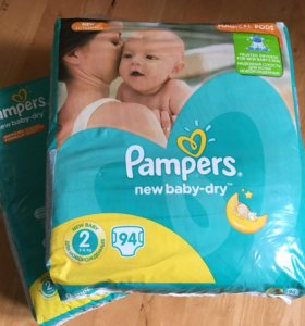 Pampers New baby-dry 2, 2 упаковки по 94 шт.
