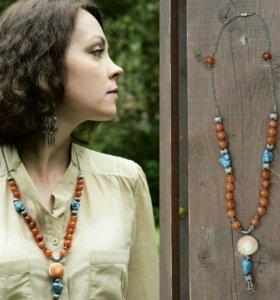 Колье ожерелье серьги сердолик лазурит