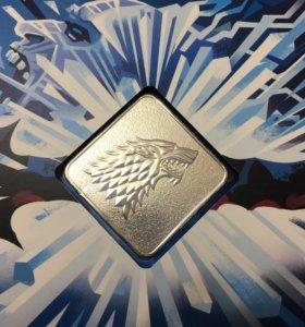 Подарочный набор Game of Trones монета,марки Старк