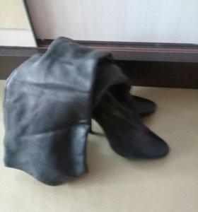 кожанные весенние батфорты на каблуке.