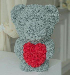 МИШКА ИЗ ИСКУССТВЕННЫХ 3D РОЗ