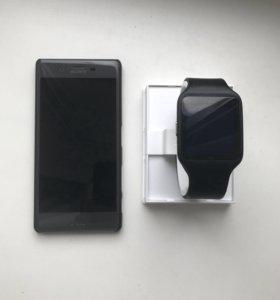 Sony Xperia X + Sony Smart Watch 3 + наушники