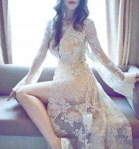 Будуарное платье беж