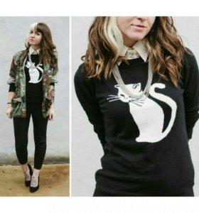 🔸 Теплый свитер с кошкой L-XL 🔸