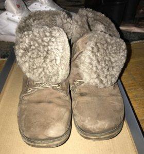 Кожаные ботинки с натуральным мехом