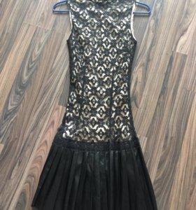 Платье кружево и ЭКО-кожа