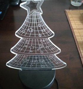 Новогодний подарок Светильник 3d мишка и елочка