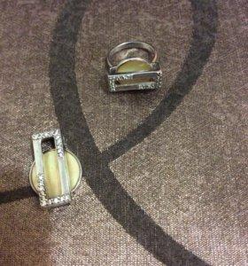 Кольцо серебряное и подвеска с перламутром