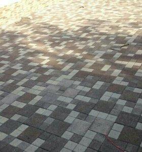 Укладка брусчатки тротуарной плитки
