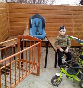 Детские: велосипед, кресло автомобильное, кроватка