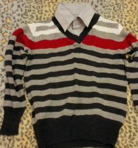 Тонкий Свитер с горлом рубашки 116-122
