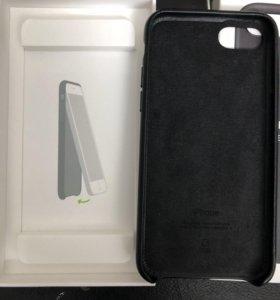 Оригинальный кожаный черный Чехол для iPhone 8