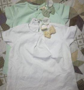 Новые футболки -тунички Зара, 18-24 м
