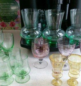 Старинные рюмки,вазы,бокальчики