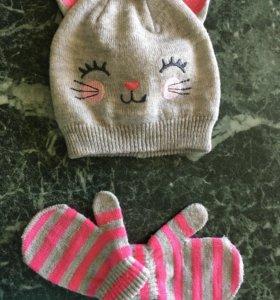 Комплект демисезонный шапочка и варежки