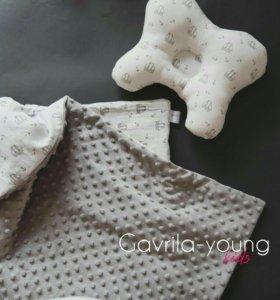 Одеяло-плед-конверт и ортопедическая подушка