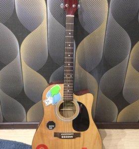 Акустическая (электро)гитара+чехол+шнур Rockdale!!
