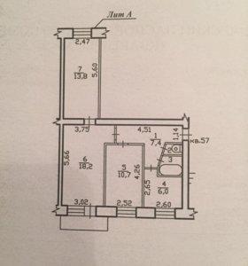 Квартира, 3 комнаты, 59.1 м²