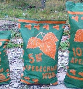 Древесный березовый уголь в мешках 3, 5, 10 кг