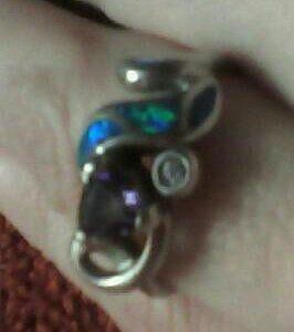 Кольцо серебрянное с опалом и аметистом