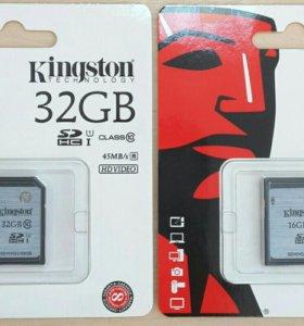 Флешка Kingston SDHC 16GB, 32GB class10 45mb U1