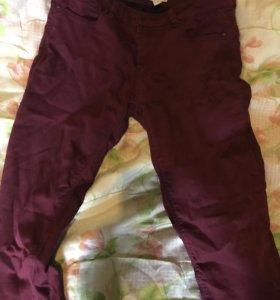 Джинсы штаны бордовые