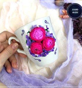 Подарок. Кружки с декором из полимерной глины
