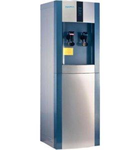 Напольный кулер для воды серебристо синий