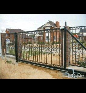 Сварные работы; ворота откатные; заборы из профлис
