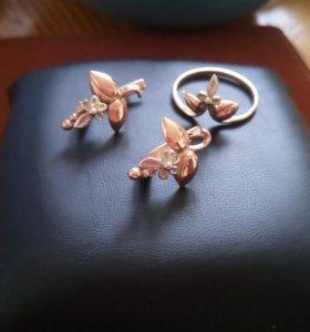 Комплект серьги и кольцо золото 585 СССР