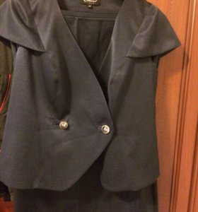 Женский костюм, темно синий, юбка прямая р52