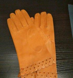Женские кожаные перчатки Новые р. 7,5