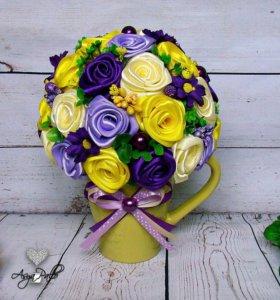 Чашечка с цветами (топиарии, подарки )