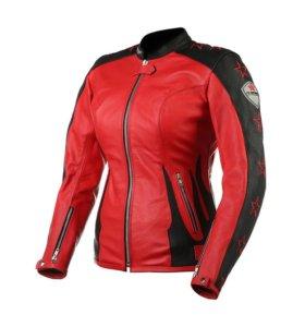 Мотокуртка женская кожаная новая красно-черная