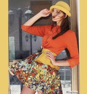 Дизайнерское платье с поясом-баской