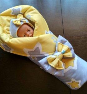 Весенне одеяло и шапочка на выписку.