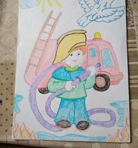 🔥🚒Рисунок открытка Пожарная охрана